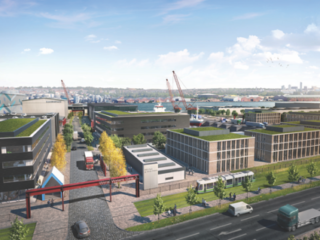 CGI representation of MEA Park with the new public realm infrastructure, future proofed for off-line mass transit system, detailed in the foreground.
